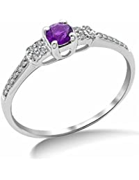 Miore 9ct White Gold Amethyst and Diamond Ring SA9022R