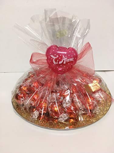 Composizione regalo san valentino lindt 1/2 kg di cioccolatini lindor classici al latte (39 pezzi) + 5 lindor omaggio assortiti. san valentiino.
