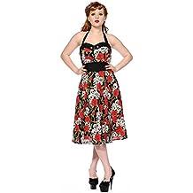 Prohibido fangbanger 50s e instrucciones para hacer vestidos diseño de calavera y diseño de rosas de Rockabilly Pin Up todos los tamaños