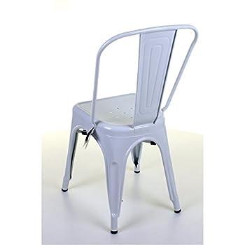 Marko Furniture Set of 4 White Metal Industrial Dining Chair Kitchen Bistro Cafe Vintage Seat
