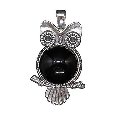 Pendentif en Argent Chouette Massif 925 Avec Onyx Noir PE001468 Empress