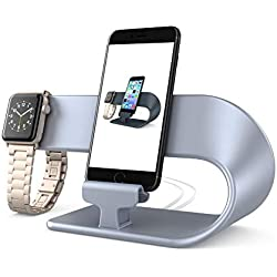 PUGO TOP Stand Charger Support Replacement for Apple Watch Series 4 3 2 1, Holder Docking Station de Charge Nightstand Fur iwatch 38mm/40mm & 42mm/44mm, iphone(2 in 1 Stand-Argent)