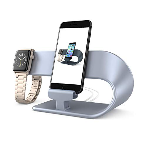 PUGO TOP Stand Ladestander Replacement für Apple Watch Series 4 Series 3 Series 2 Series 1,iWatch Stand,iPhone,iPad Dock Station(Silber) (Iphone-dock-station)