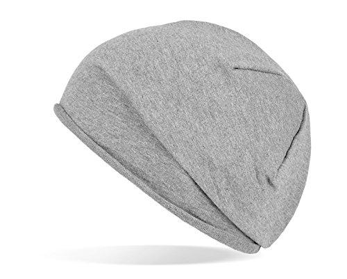 Trendige leichte und dünne Jersey Beanie - UNISEX - für Damen und Herren Grau OneSize