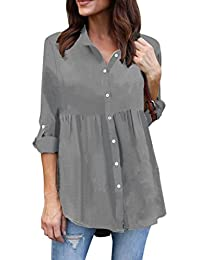 Kanpola Oversize Plaid Blouses, Women Casual Sexy V Neck Stripe Long Sleeve Shirts Loose Shirt Tops