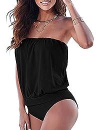 Baymate Mujer Push-up Bikini Bandeau Bañador de Una Pieza Traje de Baño Ropa de Playa