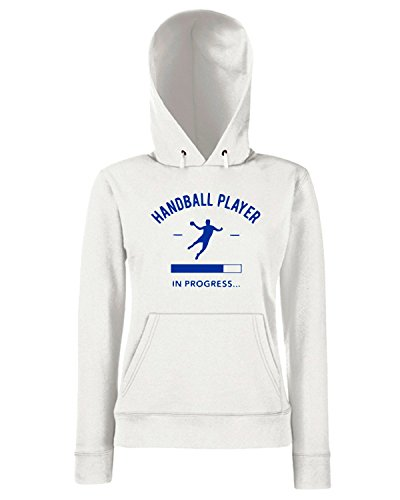 T-Shirtshock - Sweats a capuche Femme SP0071 Handball Player in Progress Maglietta Blanc