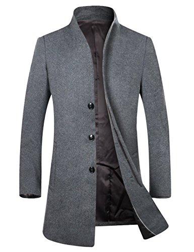 APTRO Herren Wintermantel reine SchurwolleLange Mantel Business Mantel (Herbst und Frühwinter)-Grau L