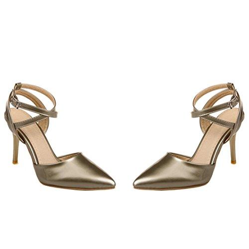 AIYOUMEI Damen Spitz Knöchelriemchen Slingback Sandalen mit 8cm Absatz und Schnalle Elegant Pumps Schuhe Gold