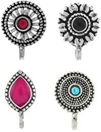 Anuradha Art Silver Oxidised Tone Wonderful Multi Colour Press On Combo Pack Nose Ring/Nose Stud/Pin for Women/Girls