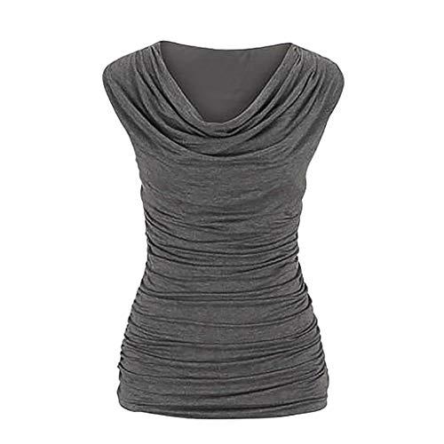 ESAILQ Frau LäSsiger Rundhals-Pullover äRmellos Schlank Abnehmendes T-Shirt Tops Bluse(Medium,Grau)