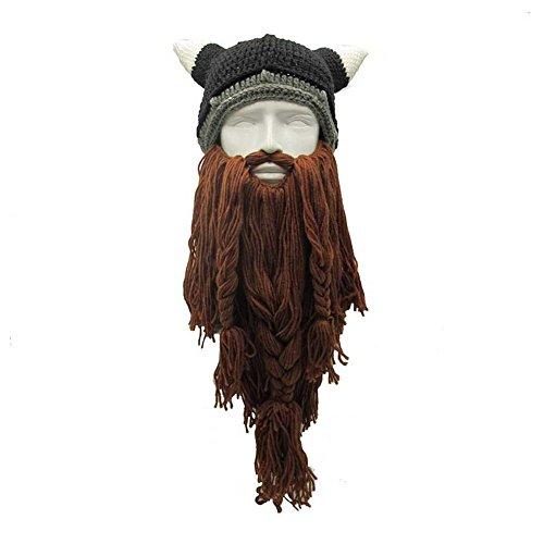 Gorro con barba de vikingo, bárbaro, talla única, café, talla única