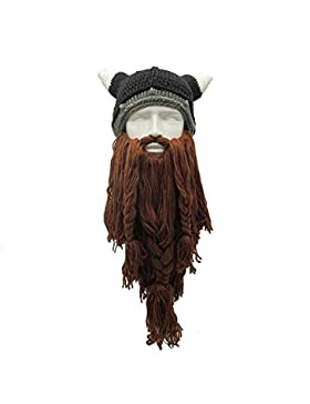 vichingo barba cappello, Aolvo originale Barbarian Looter Knit barba cappello taglia unica, Coffee, taglia unica
