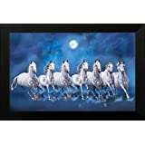 PV Paintings Villa 7 Lucky Running Horses Wooden Vastu Painting for Home and Offices (50.8 x 1.3 x 35.6 cm, Multicolour)