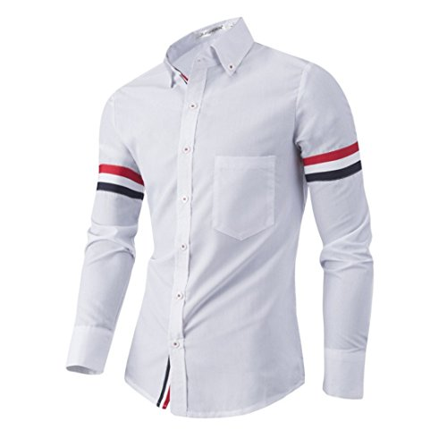 Men's Chemise Homme Long Sleeved Slim Fit Shirts white