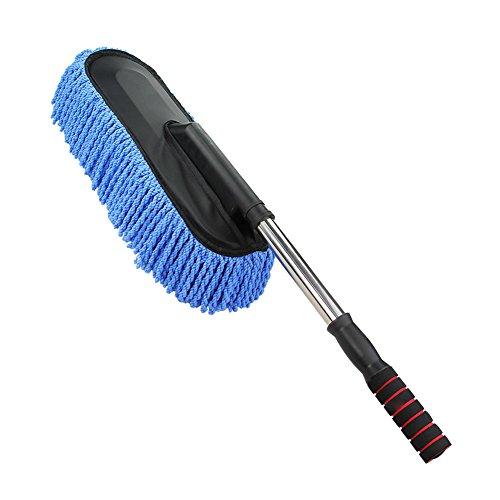 RotSale® 1x Blau KFZ Autowachs Reinigung MOP Multifunktional Teleskop Staub Reinigungsbürste mit Langem Griff Nano Werkzeug für Auto