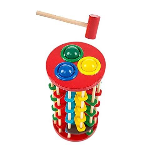 Gazechimp Infantile Enfant Jouet éducatif Frapper Jeux de Boule et échelle Bois Cadeau Multicolore