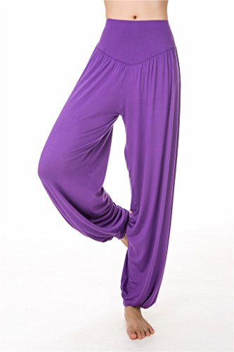 SIMYJOY da donna morbido Modal Pantaloni Lunghi Leggings/Spandex e Loose Fit per Yoga o Pilates purple