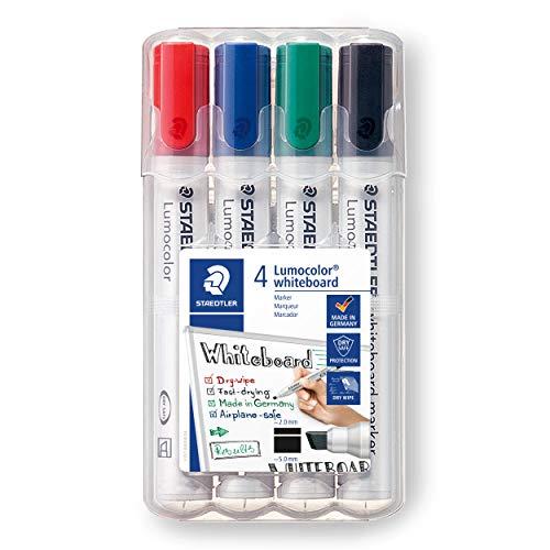 Staedtler Lumocolor 351 B WP4 Whiteboard-Marker (Keilspitze ca. 2 oder 5 mm Linienbreite, Set mit 4 Farben, hohe Qualität, trocken und rückstandsfrei abwischbar von Whiteboards)