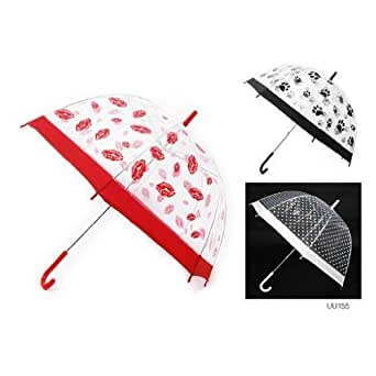 Ladies/Womens Dome Transparent Patterned Walking Umbrella (Red, White or Black) (See Description) (White/Polkadot)