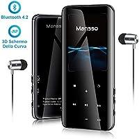 Lettore MP3 Bluetooth 4.2 MANSSO Portatile 8G, Pulsante Tocco, Effetto Specchio con schermo TFT da 2,4 pollici, Lettore Musicale Radio FM Registratore vocale E-Book Supporta fino 128GB