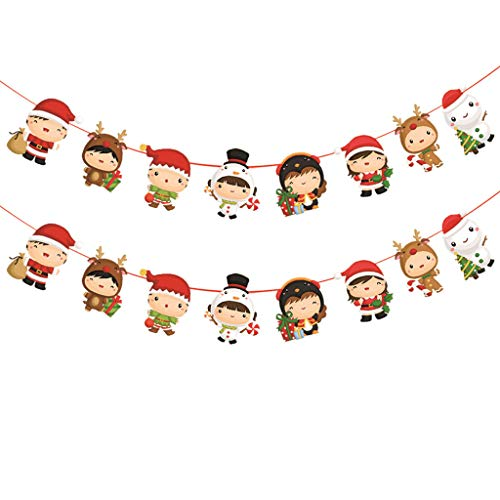 Luccase 2 Stück Weihnachten Papier Girlanden String Weiße Pappe Beidseitiger Druck Abstauben Hängend Flagge Neujahr Party Dekoration, 28cm x 24cm