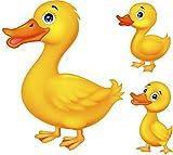 Kleberio Aufkleber wetterfest Ente mit Kinder 12 x 10 cm Sticker Auto Motorrad Carravan