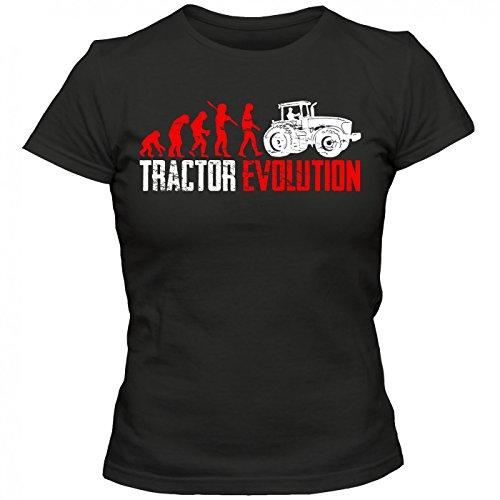 Traktor Evolution #1 T-Shirt | Landwirt | Bauer | Traktorfahrer | Frauen | Shirt Schwarz (Deep Black L191)