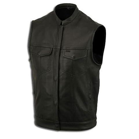 Lederweste, Bikerweste, Motorradlederweste, Clubweste, Chopperweste, Rocker Weste, KUTTE, Vest, Leather Vest, Leather Waistcoat Gr, XXXXXL, 5XL