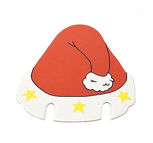 von zehn Spaß Weihnachten Wein oder Getränke Glasdekorationen in Form Einer Weihnachtsmütze Karten ideal für Familien, die aus glänzenden Karte gemacht ()