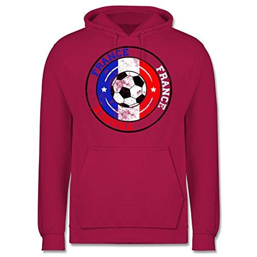 EM 2016 - Frankreich - France Kreis & Fußball Vintage - Männer Premium Kapuzenpullover / Hoodie Fuchsia