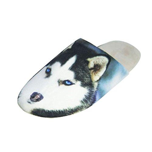 LOSORN ZPY Herren Tier Kuschelige Hund Slippers Winter Plüsch Hausschuhe Weicher Warm Pantoffeln Husky