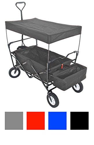 CLP Bollerwagen faltbar / klappbar mit Dach, Hecktasche, Transporttasche grau