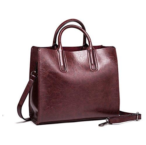 Frau Neuer Stil PU Europa Und Amerika Ölwachs Top-Grade Neigung Schultertasche Einzelne Schultertasche Handtasche,Purple-OneSize