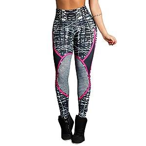 Hxuli Leggins Grünfitness Sport Yogahose Damen Atmungsaktiv High Waist Elastische Sporthose Fitnesshose Sweathose Print…