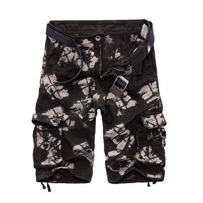 WDDGPZDK Strand Shorts/Camo Militär Shorts Sommer Camouflage Cargo Shorts Men Baumwolle Lose Heraus Tragen Taktische Kurze Hosen Ohne Gürtel, Schwarz Camo 03,30 -