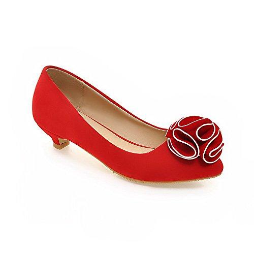 Senhoras Agoolar Baixo Puxar Calcanhar Puramente No Dedo Apontado Bombas Sapatos Vermelhos