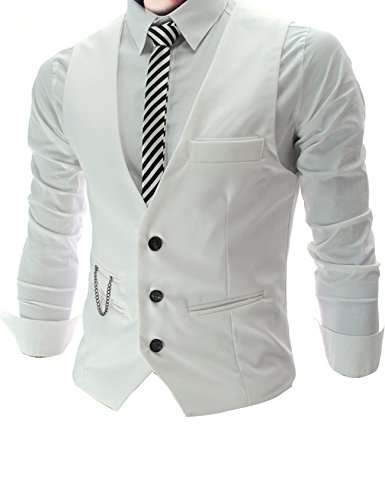 Jueshanzj Homme Gilet de costume casual mariage business veste sans manche Blanc Small