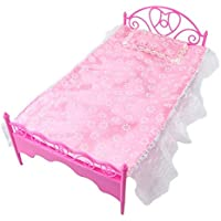 1x Pink Mini Bed With Pillow for Barbie Dolls Dollhouse Bedroom Furniture (Not Mattel)