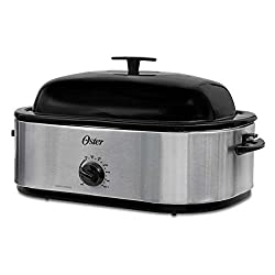 Oster CKSTRS18 24LB Turkey Roaster Oven with High Dome 18-Quart, Stainless Steel
