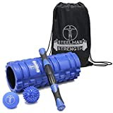 Steelman Strength Foam Roller Massage Stick Lacrosse Ball Spikey Ball and Carry Case. Best Fitness Set for Muscle Massage and Sports Massage, ideal for Crossfit, Yoga, and all Athletes.