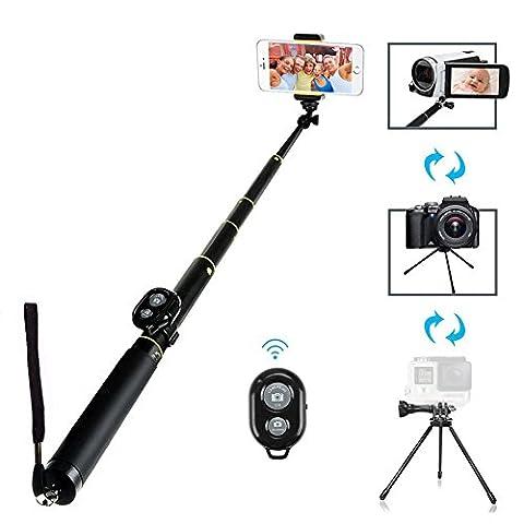 lendoo Länge GoPro Fernbedienung Pole, Verlängerbarer Selfie Stick mit Stativ Einbeinstativ für Go Pro Hero 4, Session, schwarz, Hero + LCD, 3+, 3, 2, HD und 1/10,2cm Standard Kameras/für kompakte Kameras/Handys (Bluetooth-Auslöser für Smartphone nur)