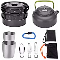 Odoland Camping Cookware Kit for 2 People Portable Campfire Stainless steel Cook Set Cooking Equipment Utensils for Camping Backpacking Gear Hiking BBQ Picnic Outdoor - Pan Pots Plates Included