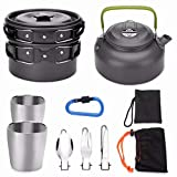 La description:   ODOLAND 10 piece Camping Cookware Kit is for anyone loves outdoor activities. Each cookware kit includes 1 pot, 1 pan, 1 kettle, 2 cups, 1 spoon, 1 fork, 1 knife, 1 carabiner and 1 carry bag. The stove and pot handles can be folded...