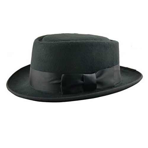 Mesky EU Mesky Pork Pie Hut Wollhut Filzhut Unisex Hat für Herren und Damen Schwarz 100% Wollfilz aus Film Breaking Bad Movie Accessories