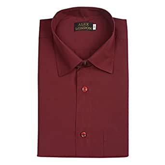 ... ALEX LONDON Maroon Formal Shirt for Men (Solid 6237f893c