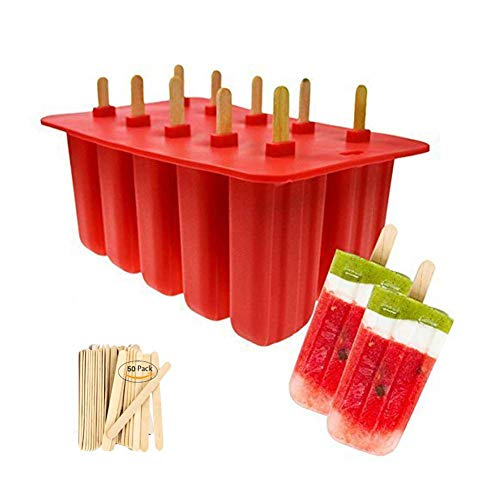 Beaulies Popsicle Molds Food Grade Silicone,10-Cavity Frozen Ice Cream Pop Mold,Frozen Popsicle Mold, Ice Pop Cream Maker,with 50 Pcs Wooden Sticks, BPA Free, Red (Red) (Red Ice Cream Maker)