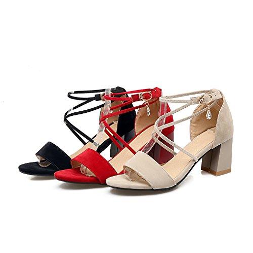b7d8fc6b05c0 OALEEN Sandales Ouverte Femme Sexy Talons Moyen Lanière Croisé Chaussures  Eté Soirée