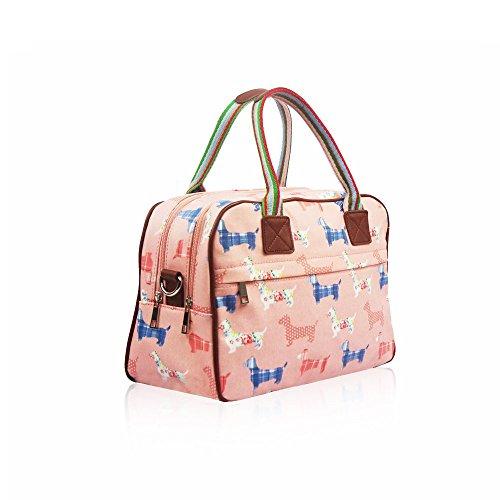 HB Style - Borsa in pelle opaca, con fantasia cagnolini Pink