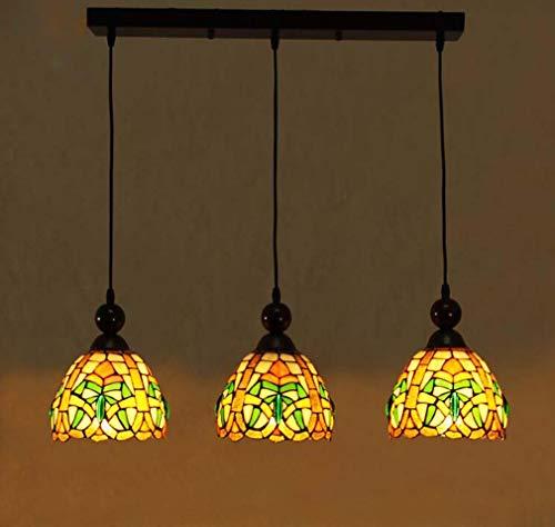 Vintage Tiffany Stil Kronleuchter, viktorianischen Glasmalerei Lampenschirm 3-Kopf Angelschnur Anhänger Beleuchtung für Restaurant Cafe Dekoration Decke Hängelampe -